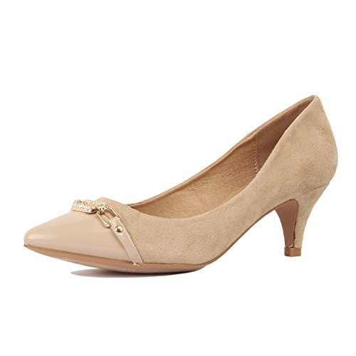Guilty Shoes Womens Deco Embellished Classic Elegant Closed Pointy Toe Low Kitten Heel Dress Pump Shoes Heeled-Sandals, 12-Beige, (Classic Low Heel Heels)