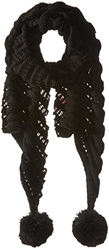 Betsey Johnson Women's Wrap It Up Muffler with Pom, Black, One Size