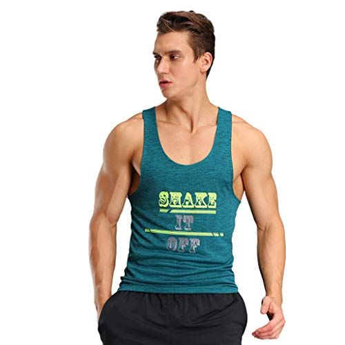 (YKARITIANNA Men Fitness Muscle Print Sleeveless Bodybuilding Tight-Drying Vest Tops)