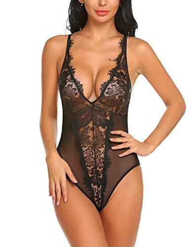 YEEZOMI Women Sexy Bodysuit Lingerie Deep V Lace Teddy One Piece Halter Babydoll Black X-Large ()