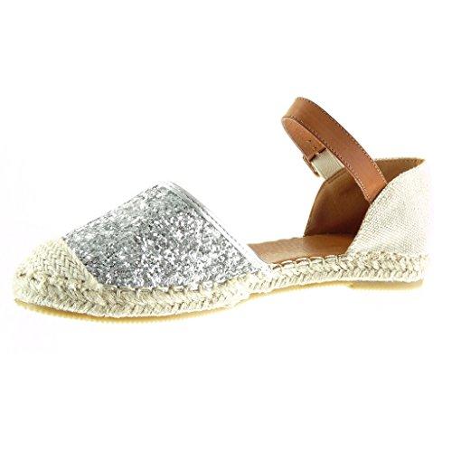 cm Paillette Jane Corda Espadrillas Moda Aperto da Argento Scarpe 1 Angkorly Sandali Tacco Piatto Strass Donna Mary Tacco BzYa4xq