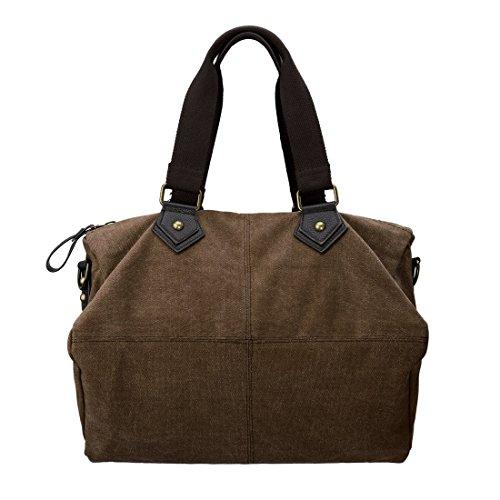 BMC Mujer Resistente lona Material doble asa superior Large Satchel Bolso marrón