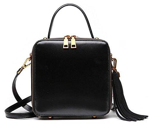 bolsos de cuero gris colgada del hombro bolsa pequeña plaza arte simple de gran capacidad marginal señoras bolso Negro