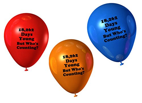 Funny 50th Birthday (Funny Guy Mugs 50th Birthday - 18,262 Days Young But Who's Counting? Balloons, 12-Pack, Assorted)