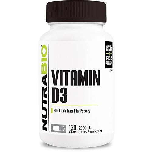 NutraBio Vitamin D (2000 IU) - 120 Vegetable Capsules