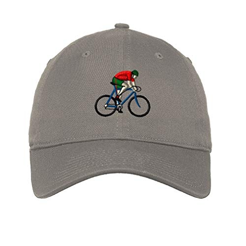 Rider Ball Cap - LowProfileSoft Hat Rider and Bicycle Embroidery Design Cotton Dad Hat Flat Solid Buckle Light Grey Design Only