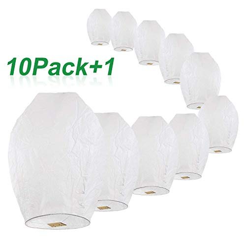 Chinese Sky Lanterns - Floating Lanterns, 100% Biodegradable Flying Paper Sky Lantern for Wedding, Graduation, Party, Birthday, Memorial, Funeral, Camping (Set of 10, Extra Large, White)