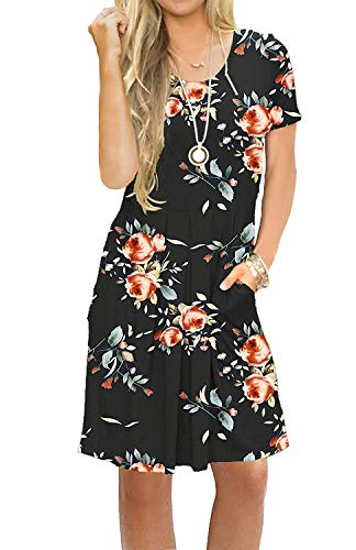 AUSELILY Women's Short Sleeve Pleated Loose Swing Casual Dress with Pockets Knee Length (L, H Rose Black)