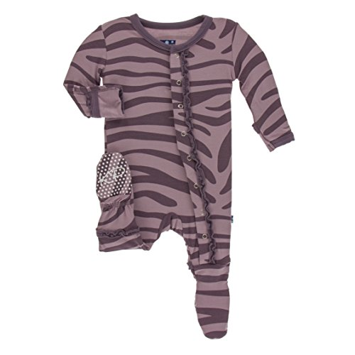 Kickee Pants Little Girls Print Muffin Ruffle Footie with Snaps - Elderberry Zebra Print, 12-18 Months