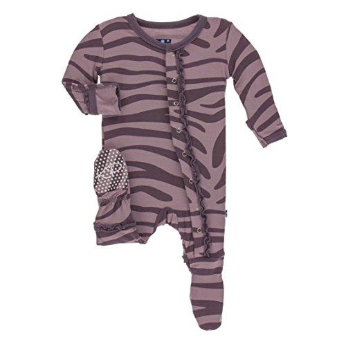 Kickee Pants Little Girls Print Muffin Ruffle Footie with Snaps - Elderberry Zebra Print, 12-18 ()