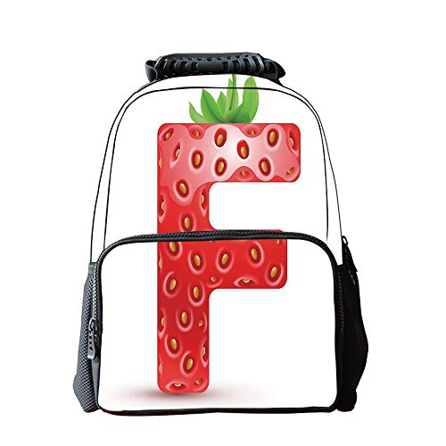 School Students Schoolbag,Letter F,Red Berry and Vibrant Green Leaves Uppercase F Delicious Design Print Decorative,Vermilion Green Orange,for Children,Pictures Print Design ()