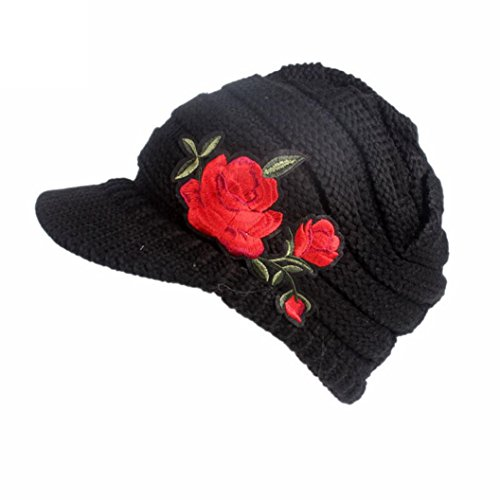 Crochet Stretch Cap (Elogoog Baggy Women Winter Cable Knitting Visor Skiing Beanie Hat Berets Cap (Black (Rose)))