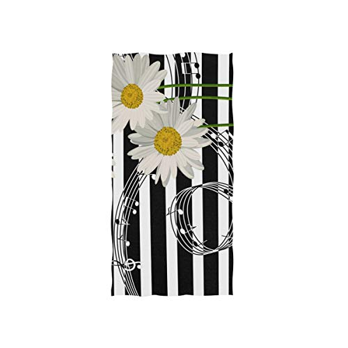 - Naanle Music Note Swirl Spiral Daisy Flower On Black and White Stripe Soft Bath Towel Absorbent Hand Towels Multipurpose for Bathroom Hotel Gym and Spa 30