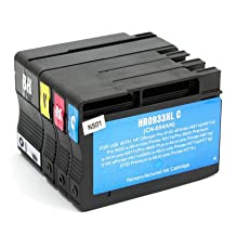 SaveOnMany ® HP 932XL 933XL BK/C/M/Y (932 933 XL / hp932xl hp933xl) Black Cyan Magenta Yellow Remanufactured Compatible (CN053AN CN054AN CN055AN CN056AN) High-Yield Ink Cartridge For HP Officejet 6100, 6600, 7610, 6700 Premium, 7110 Wide Format ePrinter - H812a, 7612 Wide Format e-All-in-One (G1X85A)