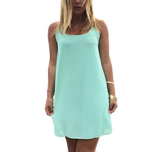Vestido De Mujer Ocasional Verano Arco de vuelta Vestido De Gasa Mini Vestido Corto De Playa Colores Lisos Verde claro