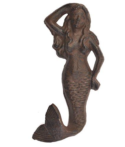 Import Wholesales Mermaid Wall Coat Hook Rust Cast Iron Beach Decor 5.75