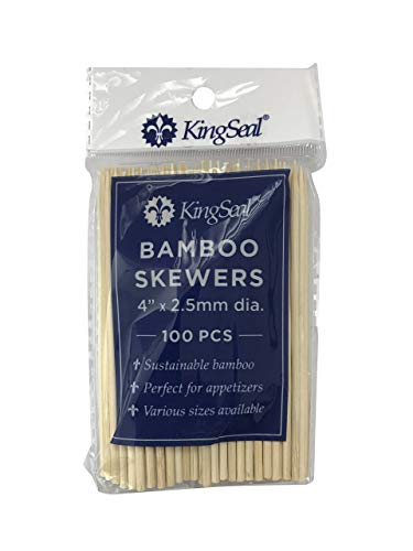 (KingSeal Natural Bamboo Wood Skewers - 4 Inches, 16 Packs of 100 per Case, for Shish Kabobs, Appetizers and)