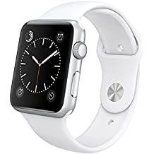 """Original Apple Watch 42mm (fits 5.5"""" - 8.2"""" wrists) - Silver Aluminum Case, White Sport Band Edition (Retail Packaging)"""