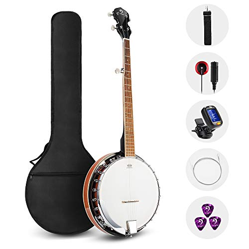 Vangoa 5 String Banjo Remo Head Closed Solid Back with beginner Kit, Tuner, Strap, Pick up, Strings, Picks and Bag ()