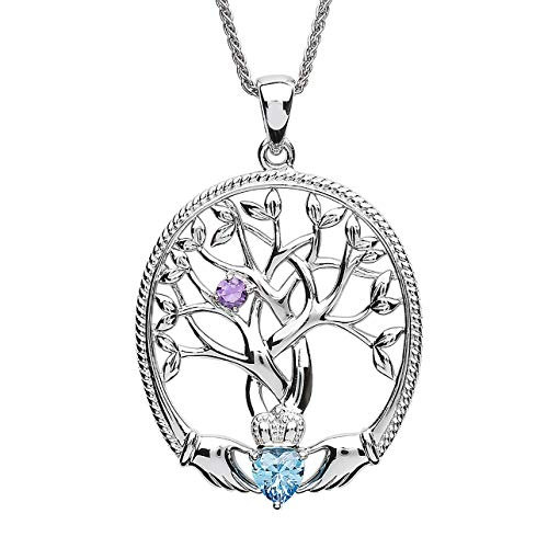 Customizable Irish Family Claddagh Tree of Life Birthstone Mother and Child Pendant with Chain SP2247-1