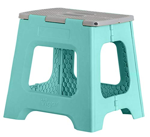 Admirable Vigar Compact Foldable Stool 13 Inches Lightweight 330 Pound Capacity Non Slip Folding Step Stool For Kids And Adults Turquoise Onthecornerstone Fun Painted Chair Ideas Images Onthecornerstoneorg