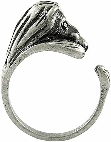 Enhanced Lion Adjustable Animal Wrap Ring Vintage Silver Tone