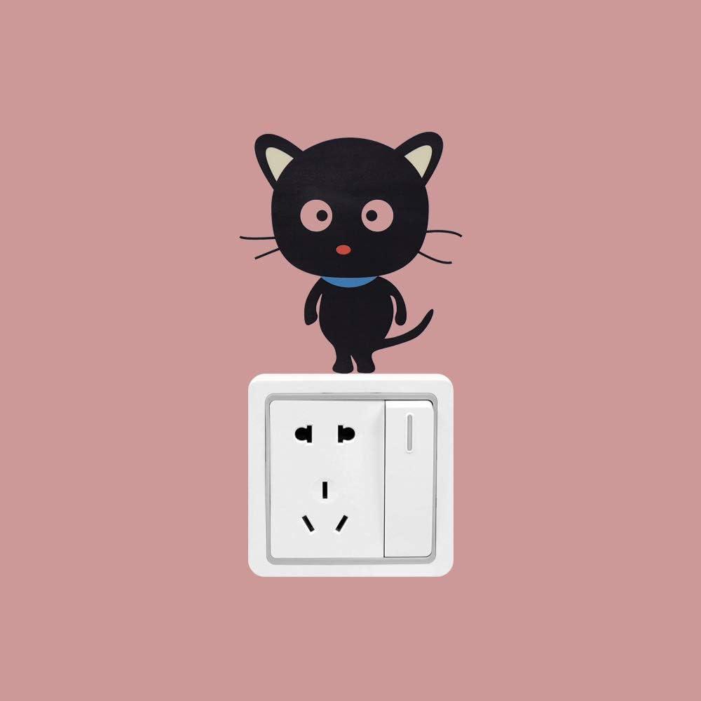 bigdispawl 2//5//10//20pcs Light Switch Sticker 2, Type 1 Cute Cat Wall Sticker for Living Room PVC Removable Funny Cartoon Wall Decal Black
