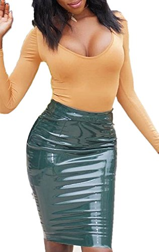 Cuir Crayon Jupes Couleur Cocktail Package Vert Sexy Genoux Soire Et de Party Unie Hanche Jupe Femme nv8OwzWqg