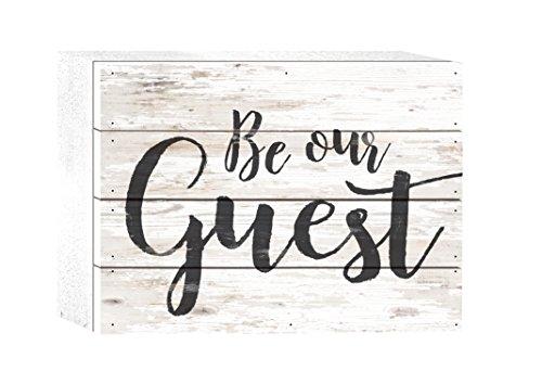 P. GRAHAM DUNN Be Our Guest Script Whitewash 8 x 6 Solid Wood Boxed Pallet Plaque - Guest Sign