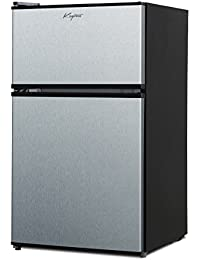 Keyton Refrigerator & Freezer with Double Doors - 3.1 Cubic Feet, Compact, Adjustable Legs, Interior Light & Adjustable Thermostat - UL & Energy Star Certified - Stainless Steel