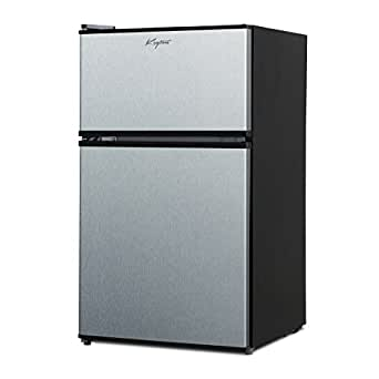 Keyton A1-3.1CFDDSS Refrigerator & Freezer with Double Doors - 3.1 Cubic Feet, Compact, Adjustable Legs, Interior Light & Adjustable Thermostat - UL & Energy Star Certified - Stainless Steel