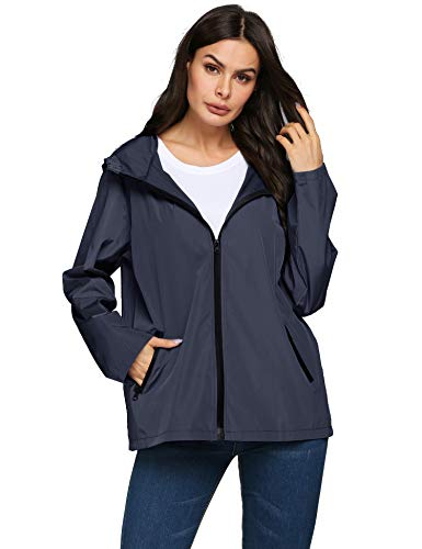 LOMON City Raincoat,Women Patterned Waterproof Rain Jacket for Autumn(Navy Blue,S)