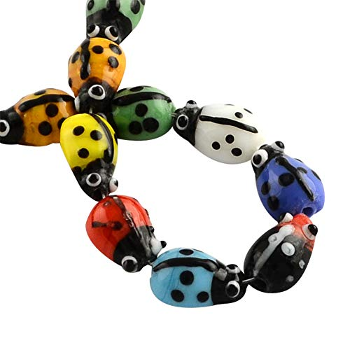 (PH PandaHall 10 Strands Millefiori Lampwork Glass Beads Ladybug Spacer Bead for Jewelry Making 11.8