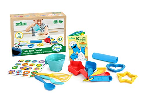 Whisk Green Cook (Green Toys SSBBS-1326 Sesame Street Cook Bake Create Recipe Activity Set (15 Piece), Multicolor)