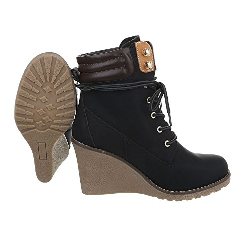 Ankle Boots Wedge Women's Boots S122 at Wedge Black Design Ital Heel HISnnOxdqp