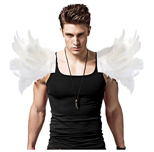 L'vow Men' Gothic Natural Real Feather Epaulet Shrug Shoulder Strap for Halloween Pack of 2 -