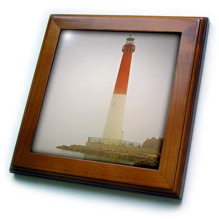 3dRose Stamp City - Architecture - Photograph of Barnegat Lighthouse in The Jersey Shore on a Foggy Day. - 8x8 Framed Tile (ft_292955_1)