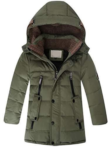 (Mallimoda Big Boy's Hooded Bubble Jacket Heavyweight Solid Puffer Coat Style 1 Dark Green 7-8 Years)