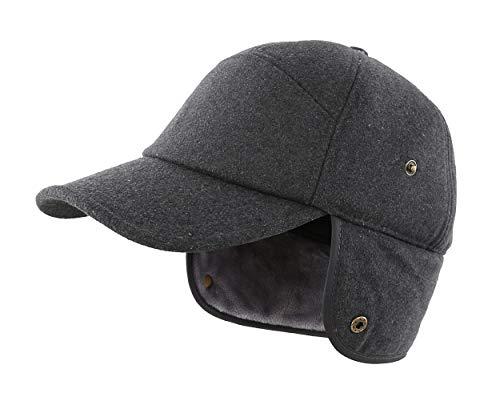 LLmoway Men's Winter Baseball Cap with Earflaps Fleece Lined Warm Ski Trapper Hunting Hat Dark Grey