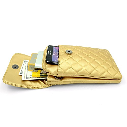Womens Bag Cell Phone PU Shoulder Leather Gold rCr0wqF