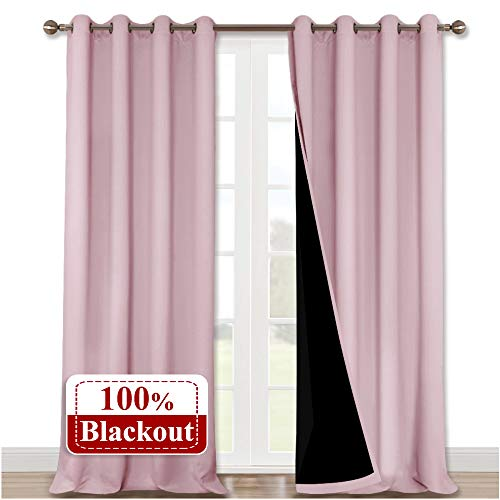 NICETOWN 100% Blackout Tall Curtains, Durable and Soft Black Lined Blackout Drapes for Living Room, Energy Saving Long Panels for Patio Sliding Glass Door, Lavender Pink, 52 inches x 108 inches, 2 PCs (Pink Furniture Patio)