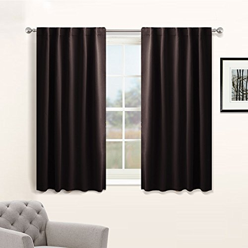 PONY DANCE Bedroom Blackout Curtains Window Draperies - Energy Efficient Thermal Insulated Back Tab/Rod Pocket Curtain Panels/Window Treatments for Kitchen, 42