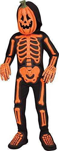 Scary Pumpkin Toddler Costumes - Toddler Skele-Jack Orange Skeleton Costume size