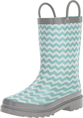 M&F Western Kids Twister Kid's Lacy Chevron Print Round Toe Rain Boots, Small (12/13), Blue