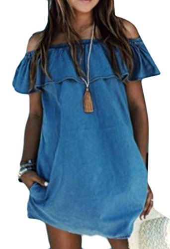 Ruffles Sexy T Short Dresses Solid Shirt Off Blue Shoulder Cromoncent Womens WFTqHFI