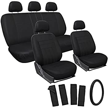 Oxgord 17-Piece Polyester and Padded Foam Seat Cover Set for Honda Accord, Black