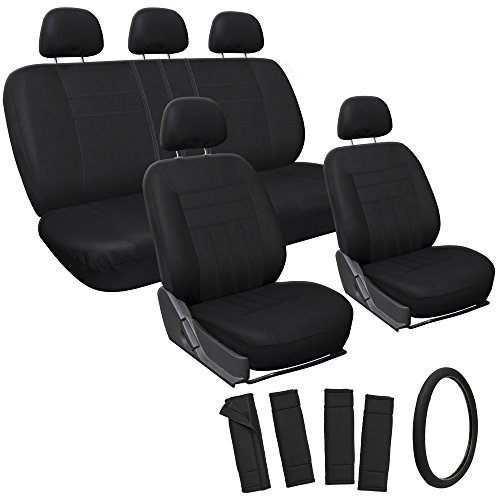 Oxgord 17pc Set Flat Cloth Mesh / Solid Black Auto Seat Covers Set - Airbag Compatible - Front Low Back Buckets - 50/50 or 60/40 Rear Split Bench - 5 Head Rests - Universal Fit for Car, Truck, Suv, or Van - FREE Steering Wheel Cover