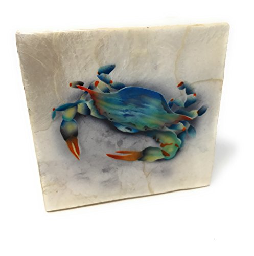 Kubla Craft Blue Crab Capiz Shell Keepsake Box, 4 Inches Square