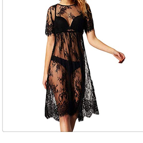 Isbxn Les Femmes Sexy Perspective Mesh Skirt Lace Dress Jupe Beach Beach Sexy (Color : Black, Size : Free Size) Black