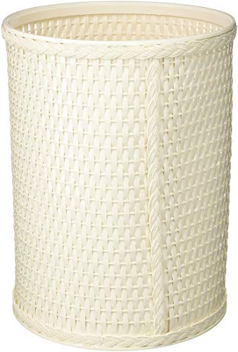 REDMON Chelsea Collection Decorator Color Round Wicker Wastebasket, White - R426WH
